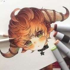 Taurus♉️✨✨ _____ Little zodiac devils will be turned into stickers and (hopefully) acrylic charms! Might have to open preorder for the… Copic Drawings, Anime Drawings Sketches, Anime Sketch, Kawaii Drawings, Cute Drawings, Copic Marker Art, Copic Art, Arte Do Kawaii, Kawaii Art