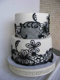 Black and white #wedding #cake www.finditforweddings.com
