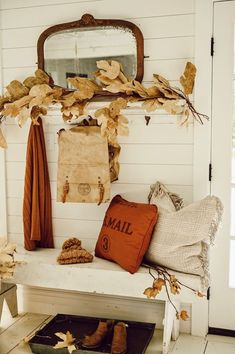 Rustic Fall Entryway Idea With Antiques. Rustic Fall Entryway Idea With Antiques. Fall Entryway Decor, Rustic Fall Decor, Fall Home Decor, Autumn Home, Autumn Fall, Vintage Fall Decor, Entryway Ideas, Seasonal Decor, Thanksgiving Decorations