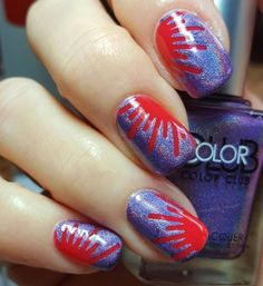 Guys.....today is the Launch of the Vinyl Vault collab by #vinovinyls @polishedvino and @vinailicious!!! Did you get yours yet?? If not you need to hurry for today you can snag it for only $12.99 and then starting tomorrow it jumps to $14.99. Now onto this amazing sunray mani I did using one of the vinyls designs in the collab. The vinyl was long so I cut it in half and actually got 4 stencils out of 2 vinyls which is fantastic!!! Who says the sunset can't be a coral red color with a purple…