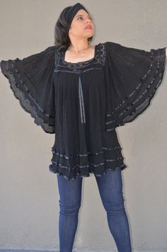 Mexican Black Gauze Sheer Crochet Lace Bell Kimono Drape Gypsy Dress Top