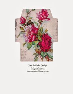 Free Printable Rose Envelope // Also A Good Template Idea For Turning Wrapping Paper Into Envelopes --- Printable Labels, Printable Paper, Free Printables, Diy Envelope, Envelope Templates, Etiquette Vintage, Little Presents, Decoupage Paper, Mail Art