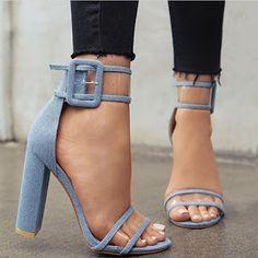 Sandália de Salto Alto Azul - Transparente