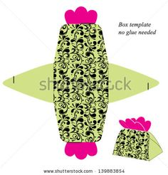 Gift box template with floral pattern. No glue needed. Vector illustration. - stock vector