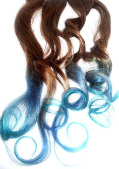 Ready to Ship Brown to blue/Turquoise Ombre Hair by ArtisicStrands, $60.00