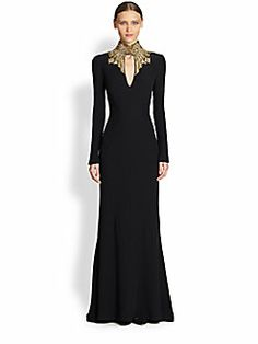 QUEEN E LOOK 2 neck and shoulders/ beading Alexander McQueen Crepe Jewelneck Gown - Lyst - Great recital dress! Beautiful Gowns, Beautiful Outfits, Stunningly Beautiful, Alexandre Mcqueen, Vetements Clothing, Looks Style, Mode Style, Dream Dress, Couture Fashion