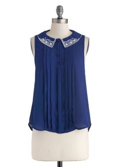Modcloth What Makes You Blue-tiful Top