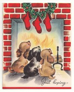 Vintage Greeting Card Christmas Puppy Dog Red Brick Fireplace Mid-Century
