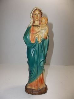 """Vintage Chalkware MADONNA And CHILD Figurine 9"""" Holy Mother VIRGIN MARY Jesus"""
