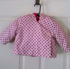 Gap Baby Girl's Pink Polka Dot Hooded Jacket 3 to 6 Months Long Sleeve Polyester…