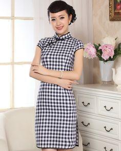Black and white plaid schoolgirl cheongsam Qipao Chinese Dresses, Elegant Girl, Cheongsam Dress, Oriental Fashion, Schoolgirl, Blouse Dress, White Plaid, School Uniform, Chinese Style