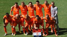 The Netherlands pose for a team photo prior to the 2014 FIFA World Cup Brazil Round of 16 match between Netherlands and Mexico