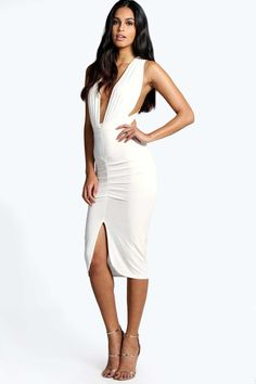 #FashionVault #boohoo #Sale #Women - Check this : boohoo Aby Slinky Plunge Neck Midi Bodycon Dress - ivory for $37 USD instead of $18 #OnSale