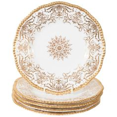 Set of 12 Royal Worcester Green Dinner Plates, Raised Paste Gold and ...