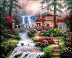 Art by Thomas Kinkade Nature Pictures, Beautiful Pictures, Thomas Kinkade Art, Kinkade Paintings, Art Thomas, Image Nature, Nature Nature, Creation Photo, Cottage Art