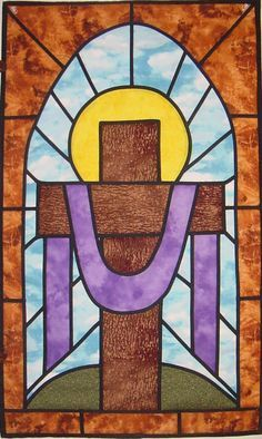 stained glass quilt patterns from churches | Stained Glass Cross Wall Hanging
