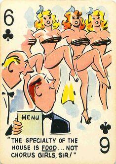 "The Six of Clubs. - Cartoon Art by Bill Wenzel. - Board ""Art-Bill Wenzel - Playing Cards"