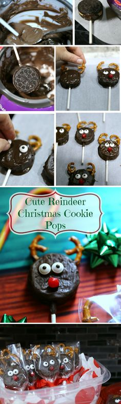 How to make Reindeer Christmas Cookie Pops! Want a new cookie for Christmas?  Don't miss out on this cute little character Rudolph the Red Nosed Reindeer! #ad #SharetheHoliday