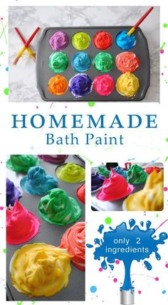 """When all else fails, give them a bubble bath!"" Make bath time even more fun with this easy Homemade Bath Paint recipe. Seriously, it is only 2 ingredients!"