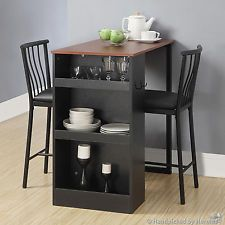 Counter Height Dining Set Dinner Table Dinnette 3 Pc Small Space Kitchen Black