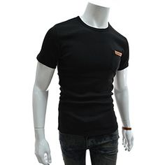 (GTS05-BLACK) Slim Fit Leather Patched Pocket Round Neck Short Sleeve Tshirts