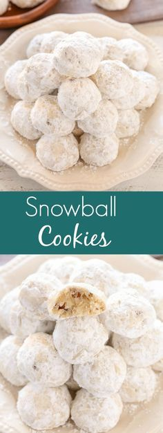 Buttery shortbread cookies filled with pecans and rolled in powdered sugar. These Snowball Cookies are a perfect easy dessert for the holidays! (recipe for shortbread cookies holidays) Brownie Desserts, Oreo Dessert, Mini Desserts, Easy Desserts, Delicious Desserts, Plated Desserts, Baking Recipes, Cookie Recipes, Dessert Recipes