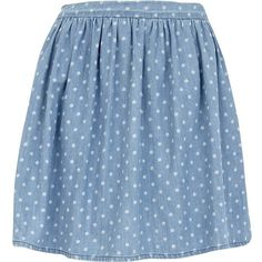 River Island Blue polka dot skater skirt (62 RON) ❤ liked on Polyvore featuring skirts, bottoms, saias, faldas, cotton knee length skirt, structured skirt, cotton skirts, polka dot skirts and blue cotton skirt