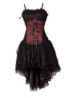 Red Corset High-Low Gothic Party Dress- I really think this could be my wedding dress! Punk Outfits, Gothic Outfits, Gothic Dress, Halloween Bridesmaid Dress, Bridesmaid Dresses, Steampunk Fashion, Gothic Fashion, Sweet Sixteen Dresses, Red Corset