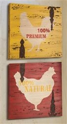 Country farm wall decor. Rooster silhouettes with rusty hinges.
