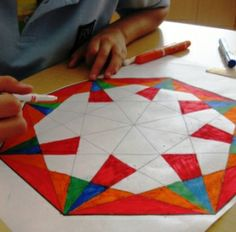 """Geometric Designs in Grade Five: """"Each student received a large octagon shape, ruler, pencil and eraser. They were to create lines linking corner points of the octagon to cre..."""""""