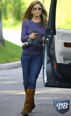 Celebs in Denim: Jennifer Aniston in Degaine Jeans