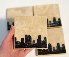 Houston Skyline Coaster Set (Black) Texas City Stone Coasters, Handmade Modern Home Decor