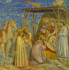 Giotto ca. 1267 – 1337     The Adoration of the Magi (Arena chapel)     fresco (200 × 185 cm) — 1304-1306
