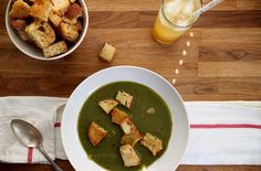 Spinach Soup with Garlic Thyme Croutons — Punchfork
