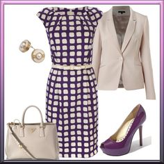 "The cap sleeves on the dress gives the option of taking the jacket off at work. Would love to wear purple heels and look ""put together."""