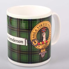 Henderson Clan Crest and Tartan Mug. Free worldwide shipping available.