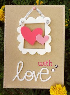 """""""Hanging"""" a frame Homemade Valentine Cards, Valentines Day Cards Handmade, Valentine Crafts, Homemade Cards, Birthday Card Drawing, Birthday Cards, Bookmark Craft, Mother's Day Diy, Mothers Day Cards"""