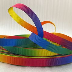 David accessories Rainbow ribbon grosgrain double side Gradient color 50 yards,DIY handmade materials,different size ,50Yc2106