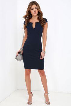 Top notch navy blue midi dress in 2019 Classy Business Outfits, Classy Outfits, Navy Blue Midi Dress, Navy Blue Dresses, Knee Length Cocktail Dress, Dress Up, Bodycon Dress, Black White Fashion, Event Dresses