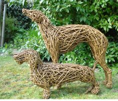 Emma Walker is a British based, contemporary animal sculptor. She works in Bronze as well as Willow and Steel. Chicken Wire Sculpture, Driftwood Sculpture, Dog Sculpture, Animal Sculptures, Wire Sculptures, Garden Sculpture, Whippet Dog, Dachshund Dog, Willow Weaving