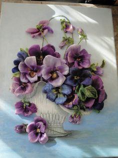 silk ribbon embroidery Pensy in vase by myflowersworld on Etsy