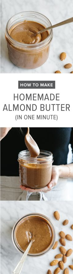 Make homemade almond butter in one minute with your Vitamix. Super easy and delicious - watch the video!