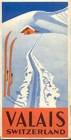 Vintage Ski Poster - Valais, Switzerland, circa 1935