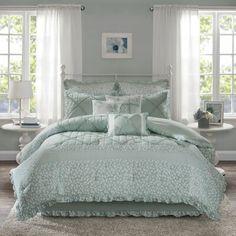 August Grove Spiritwood Lake Comforter Set | Birch Lane Bed Comforter Sets, Cotton Bedding Sets, Queen Size Bedding, Bedroom Comforters, Cotton Duvet, Bed Rooms, Aqua Bedding, Floral Comforter, Blue Duvet