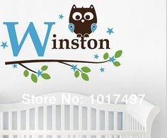 free shipping 82x60cm kids boy Name Owl Wall Decal Sticker ,Custom name owl tree vinyl stickers baby boy bedroom decoration