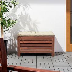 Damian's garden bench - ÄPPLARÖ Storage bench, outdoor - brown stained brown - IKEA Ikea Outdoor, Used Outdoor Furniture, Wooden Furniture, Outdoor Pallet, Furniture Nyc, Furniture Market, Woodworking Furniture, Furniture Outlet, Furniture Stores