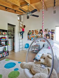 If the bubble chair isn't cool enough, this lucky girl can escape her younger siblings by climbing the ladder to her secret loft.