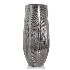 Silver Cylinder Vase with Wave Texture