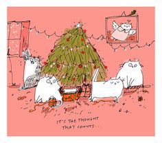It's the thought that counts Christmas Cat Card by jamieshelman, $20.00