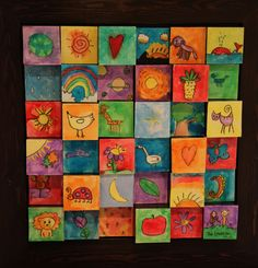 "'The Creation"" ... An auction art project I made with the talents of 3 to 7 year olds. The fabulous idea came from the brilliant www.oliveandlove.com."